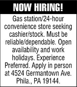 Philadelphia Gas & Convenience Store Cashier Job Ad